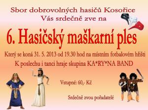 Kosořice maškarní ples 2013 pozvánka